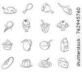 food doodle icon  set | Shutterstock .eps vector #762945760