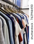 modern clothes in a shop on a...   Shutterstock . vector #762946450