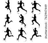 set of silhouettes. runners on... | Shutterstock .eps vector #762947449