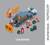 automobile repair shop with ...   Shutterstock . vector #762952159