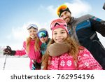 cheerful family together on... | Shutterstock . vector #762954196