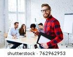 portrait of happy student... | Shutterstock . vector #762962953