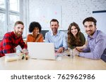 group of happy students and... | Shutterstock . vector #762962986