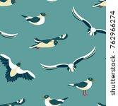 The Seagulls. Seamless Pattern...