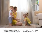 mom plays with children twins... | Shutterstock . vector #762967849