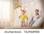 children play in the room at...   Shutterstock . vector #762968980