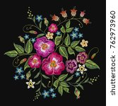 embroidery wild roses  dogrose... | Shutterstock .eps vector #762973960