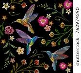 beautiful hummingbirds and... | Shutterstock .eps vector #762974290
