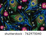 embroidery peacock feathers and ... | Shutterstock .eps vector #762975040