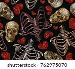 embroidery human rib cage  red...   Shutterstock .eps vector #762975070