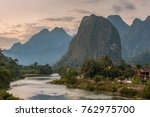 beautiful sunrise over the nam... | Shutterstock . vector #762975700