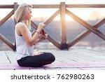 portrait of female yoga teacher ... | Shutterstock . vector #762980263