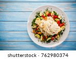 roast fish with white rice and... | Shutterstock . vector #762980374