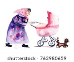 old woman with baby carriage ...   Shutterstock . vector #762980659