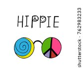colored hippy glasses. hippie... | Shutterstock .eps vector #762983233