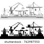 Sea Cargo Port  Container Ship...