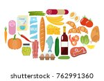 grocery set. milk  vegetables ... | Shutterstock .eps vector #762991360
