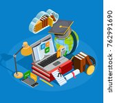 e learning isometric concept... | Shutterstock . vector #762991690