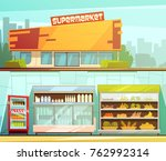 supermarket building entrance... | Shutterstock . vector #762992314