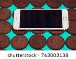 modern mobile smartphone... | Shutterstock . vector #763003138