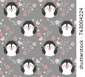 seamless pattern with penguins. ... | Shutterstock .eps vector #763004224