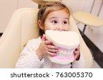 baby girl smiling sitting in... | Shutterstock . vector #763005370