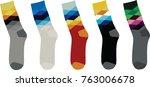 colorful sock. argyle pattern.... | Shutterstock .eps vector #763006678