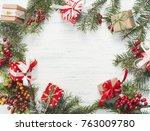 christmas gift  knitted blanket ... | Shutterstock . vector #763009780