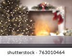 desk and christmas time  | Shutterstock . vector #763010464