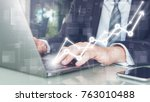 hand of businessman typing on...   Shutterstock . vector #763010488