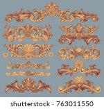 victorian baroque floral... | Shutterstock .eps vector #763011550