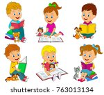 kids boys and girls  reading a... | Shutterstock .eps vector #763013134