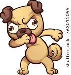 dabbing cartoon pug dog. vector ... | Shutterstock .eps vector #763015099