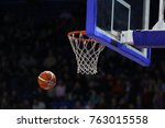 basketball ball  board and net... | Shutterstock . vector #763015558