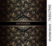vintage baroque wedding... | Shutterstock .eps vector #763017940