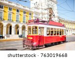 old tourist tram on the central ... | Shutterstock . vector #763019668