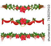 christmas garland with... | Shutterstock . vector #763025410