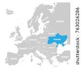 ukraine marked by blue in grey... | Shutterstock .eps vector #763026286