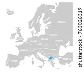 macedonia marked by blue in... | Shutterstock .eps vector #763026319