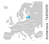 latvia marked by blue in grey... | Shutterstock .eps vector #763026550