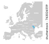 moldova marked by blue in grey... | Shutterstock .eps vector #763026559