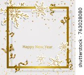 gold frame with golden ribbon ... | Shutterstock .eps vector #763028080