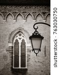 lamp and window in historical...   Shutterstock . vector #763030750