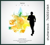 marathon runner with abstract... | Shutterstock .eps vector #763031464