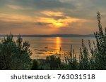 sunset at lake garda | Shutterstock . vector #763031518