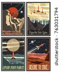 vintage space posters.... | Shutterstock .eps vector #763031794