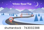 winter snowy landscape with... | Shutterstock .eps vector #763032388