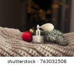 red christmas ball near white...   Shutterstock . vector #763032508