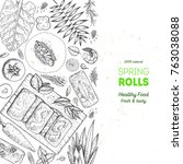 asian food menu design template.... | Shutterstock .eps vector #763038088