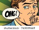 omg man is crying  bad feelings....   Shutterstock .eps vector #763039669